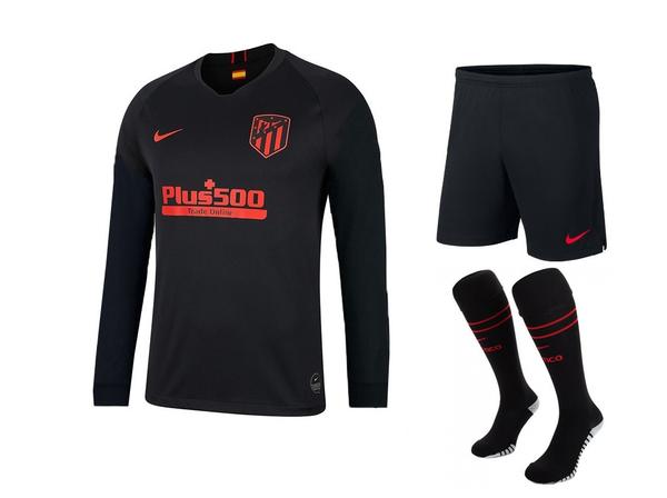 Атлетико Мадрид гостевая форма с длинным рукавом сезон 2019-2020 (футболка+шорты+гетры)